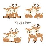 Set of cute couple dear in cartoon style. vector illustration
