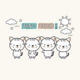 Best friend forever cats cartoon. vector illustration