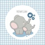 Happy mother`s day. Mother elephant with child. royalty free illustration
