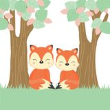 Cute couple foxes in the forest. vector illustration