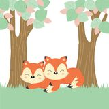 Cute couple foxes in the forest. stock illustration