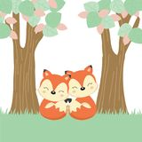 Mother`s day greeting card with little fox and mother on the wood log. vector illustration
