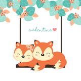 Valentine`s Day Cards. Couple foxes on swing in the forest. royalty free illustration