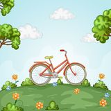 Bicycle standing in beautiful landscape royalty free stock image