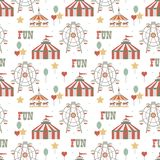 Circus background. Element of seamless pattern. Simple objects set. Vector illustration. royalty free illustration