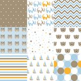 Set of baby boy patterns. Seamless  pattern vector.  Design elements. Vector illustration royalty free illustration