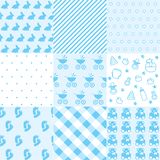 Set of baby boy patterns. Seamless blue pattern vector. Graphic design elements. Vector illustration vector illustration