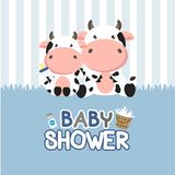 Baby Shower greeting card with little cow.vector illustration royalty free illustration