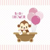 Baby Shower greeting card with little Monkey. royalty free illustration
