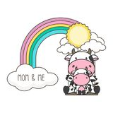 Cow and baby swing on a rainbow. Mother`s day card vector illustration. royalty free illustration
