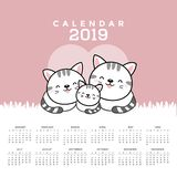 Calendar 2019 with cute cats. stock illustration