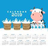 Calendar 2019 with cute cows. royalty free illustration