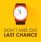 Don`t Miss Out, Last Chance Concept. Stopwatch clock ticking on yellow background. Modern flat design stock illustration