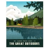 Scenic landscape with mountains, forest and lake with camping tents. Summer travel poster or sticker design royalty free illustration