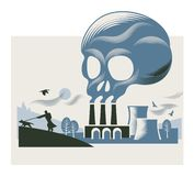 Illustration of a smoke cloud in the shape of a skull above a coal-fired power station stock illustration