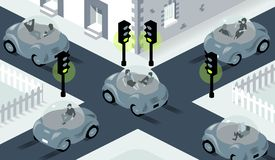Illustration of self driving cars crossing on busy intersection, where lights are all set to green. Illustration of self driving cars crossing at speed on a busy royalty free illustration