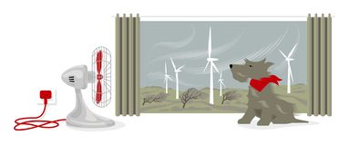 Illustration of desk fan blowing a dogs face. Outside, wind is powering a wind farm and bending trees royalty free illustration