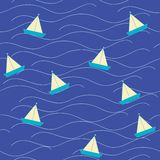 Nautica Origami boat at sea vector illustration