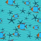 School of fishes and Starfishes royalty free illustration