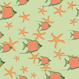 Sea of Orange fishes and starfishes royalty free illustration