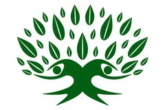 Green color family nature Tree, team symbol royalty free illustration