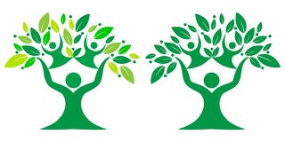 Green color family nature Tree, team symbol royalty free stock photography