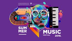 Summer Colorful Art and Music Festival Banner and Cover Template for Event, Magazine, and Web Banner. Summer Colorful Art and Music Festival Poster and Cover stock illustration