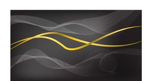 Abstract wave with gold line on black background stock illustration