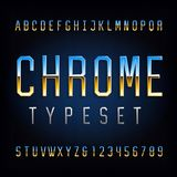 Chrome alphabet font. Chrome effect thin letters and numbers. Stock vector typeface for your typography design vector illustration