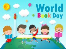 World Book Day, kid reading books ,Education Concept, Happy Book Day Vector Illustration. World Book Day, kid reading books ,Education Concept, Happy Book Day royalty free illustration