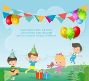 Vector Illustration of happy Birthday Party, Kids Party, birthday celebration, birthday party for children. Vector Illustration of happy Birthday Party, Kids vector illustration