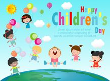 Happy children day background, Group of Kids jumping on the Globe, children`s day poster with happy kids vector illustration.  royalty free illustration