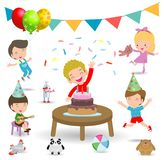Vector Illustration of happy Birthday Party, Kids Party, birthday celebration, birthday party for children.  stock illustration