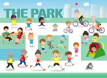 Rest in the park infographic elements flat vector design. People spend time relaxing and various activities in nature. vector. Illustration vector illustration