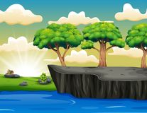 Tree on the Cliff Scenery with Grass, Sea, Sky And Clouds. Illustration of Tree on the Cliff Scenery with Grass, Sea, Sky And Clouds stock illustration