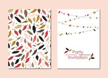 A set of greeting cards with colorful feathers, a garland and a bright emblem. For invitations, congratulations vector illustration