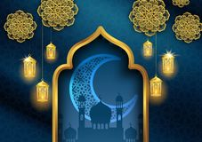 Ramadan kareem or eid mubarak islamic greeting card design with gold lantern. And crescent moon vector illustration