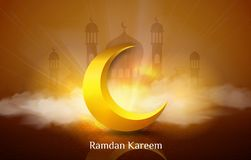 Ramadan kareem or eid mubarak background, illustration with arabic lanterns and golden ornate crescent, on starry background with royalty free illustration