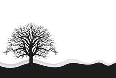 Three Full black tree with ground. Whole black tree with roots isolated white background FULL editable file included vector illustration