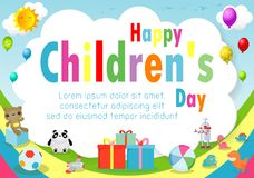 Happy children day background, children`s day poster with happy kids Template for advertising brochure your text ,Vector Illustrat. Ion royalty free illustration