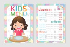 Cute colorful kids meal menu template design, Kids restaurant, children menu, menu for kids template, Cafe menu for kids, template royalty free illustration