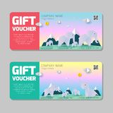 Gift voucher template with colorful pattern,cute gift voucher certificate coupon design template, kids voucher Vector illustration stock illustration