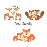 Set of cute family woodland animals. Foxes,Deer,Squirrels cartoon. royalty free illustration