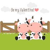 Happy Valentines Day background for greeting card. Couple of cute cows in love on green grass field. stock illustration