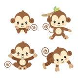 Little monkey cartoon. vector illustration