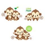 Mom and baby monkey. stock illustration