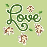 Valentines greeting card. Little monkey hanging on LOVE lettering. royalty free illustration