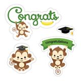 Set of cute monkey stickers. Congratulations design vector. stock illustration