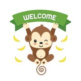 Little monkey and lettering welcome.Vector illustration. royalty free illustration