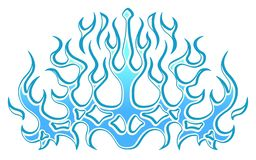 Frozen ice tribal blue flames, sticker on the hood. Car Bike Vehicle Graphics, Vinyls & Decals. vector illustration